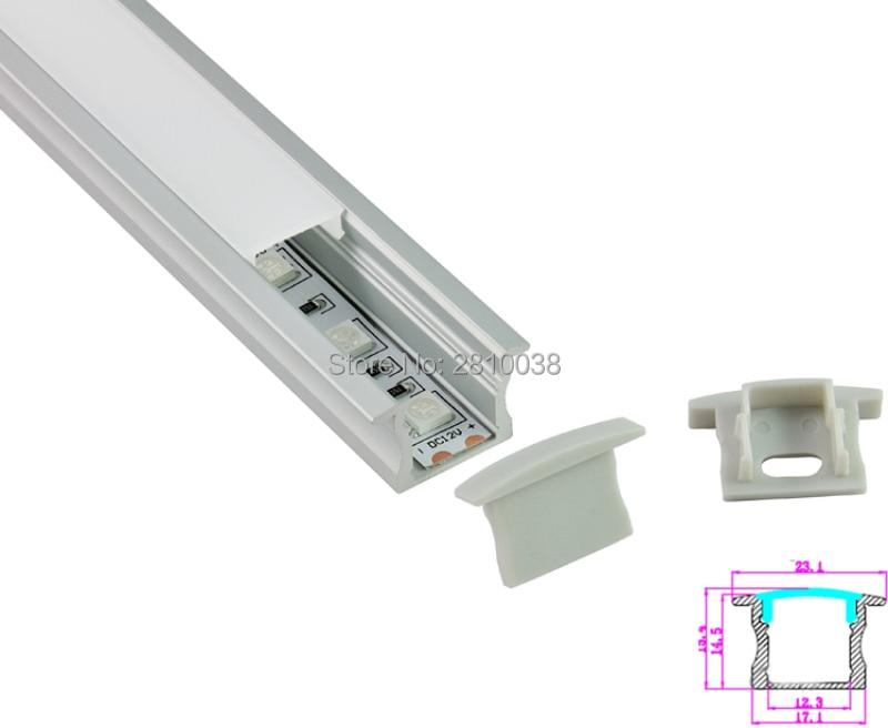 Perfil de aluminio anodizado de 50 x 1 M Sets / Lote estilo T para - Iluminación LED - foto 4