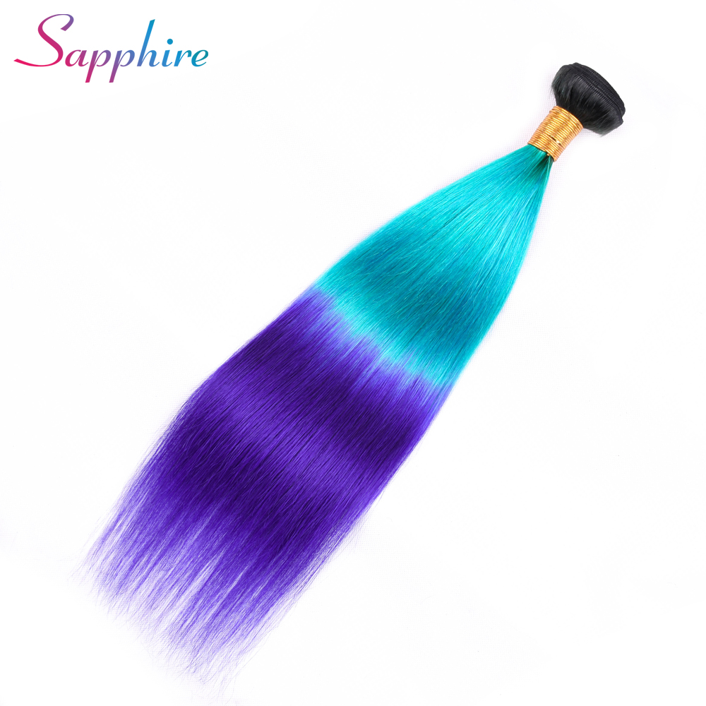 Sapphire Brazilian Straight Hair Weave Bundles 100% Human Hair Bundles Ombre Color 1 Pc Remy Hair Free Shipping