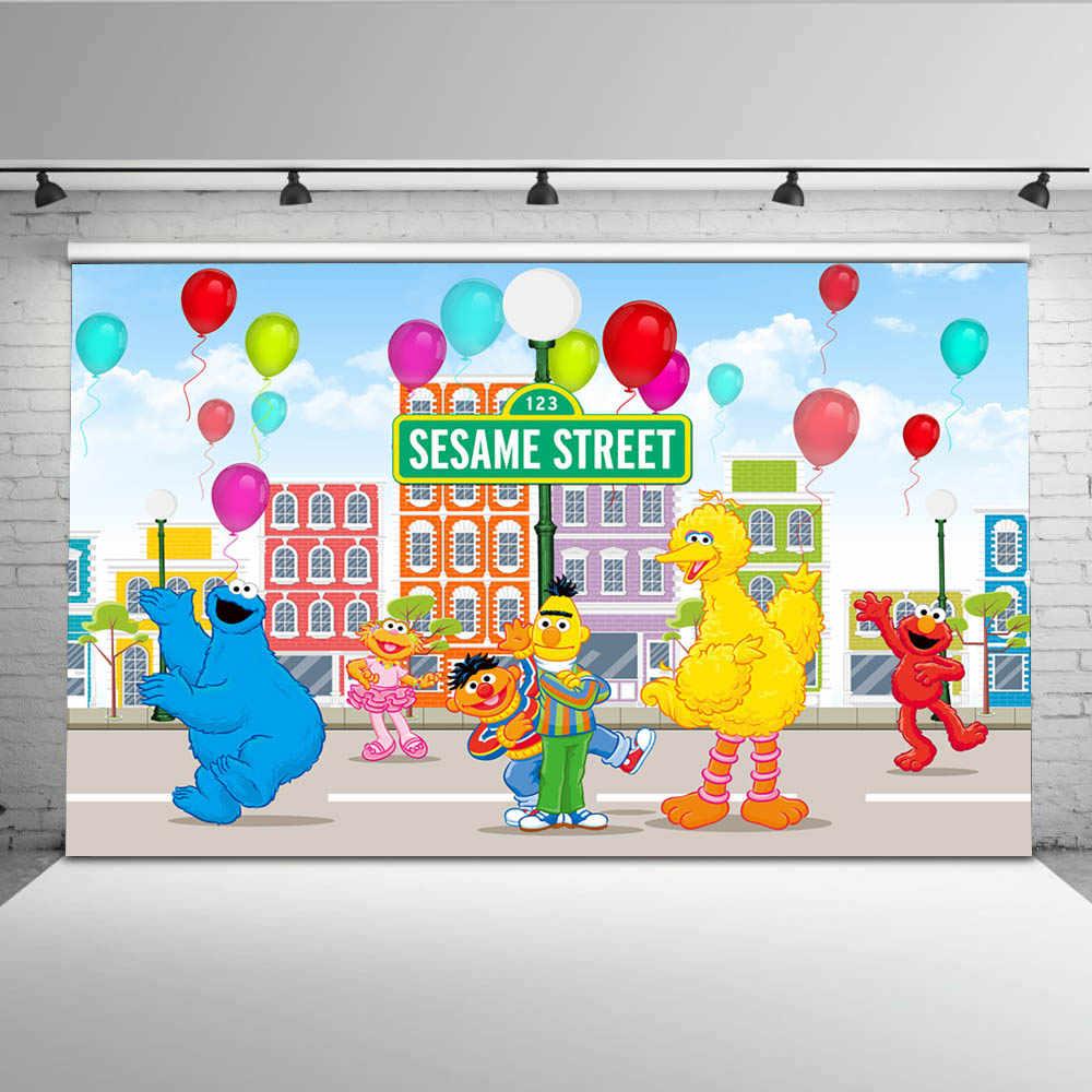 Mehofoto Elmo World Bricks Wall Sesame Street Birthday Party