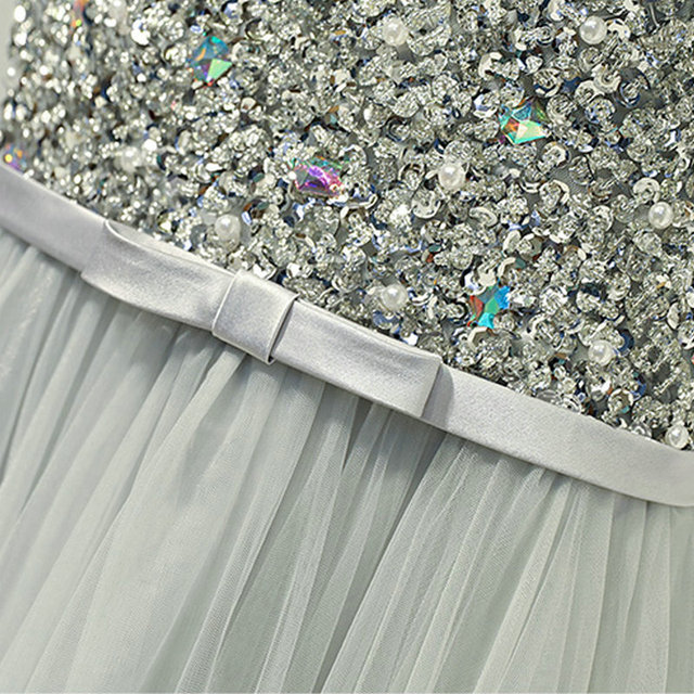LAMYA Sexy O Neck Bling Beading A Line Prom Dresses Princess Evening Party Dress Elegant Crystal Gowns robe de soiree 4