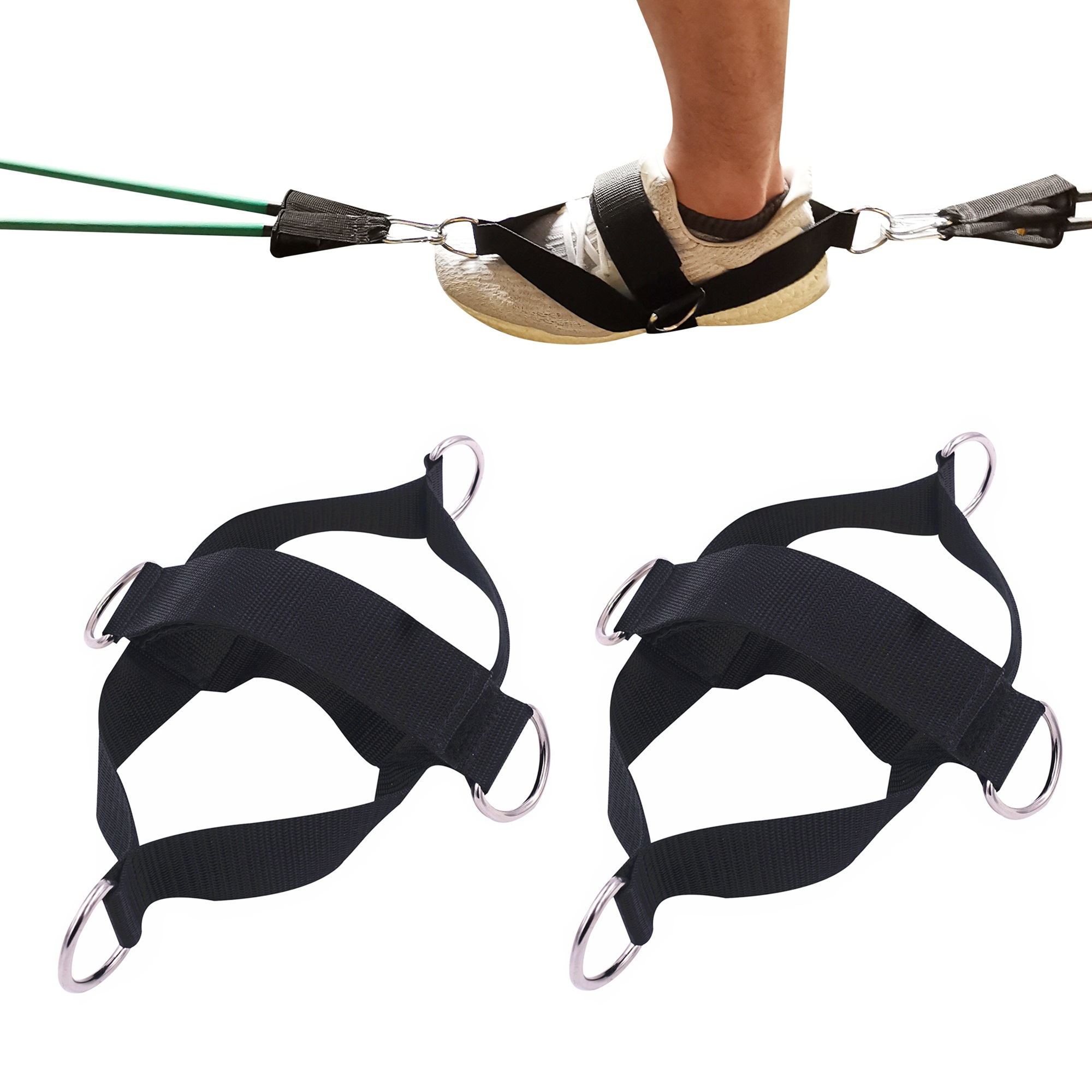 2 PCS Fitness Attachment Ankle Straps Glute Kickback Leg Exercise Abductors  Resistance for Cable Machines Shoe Cover Pull Belt