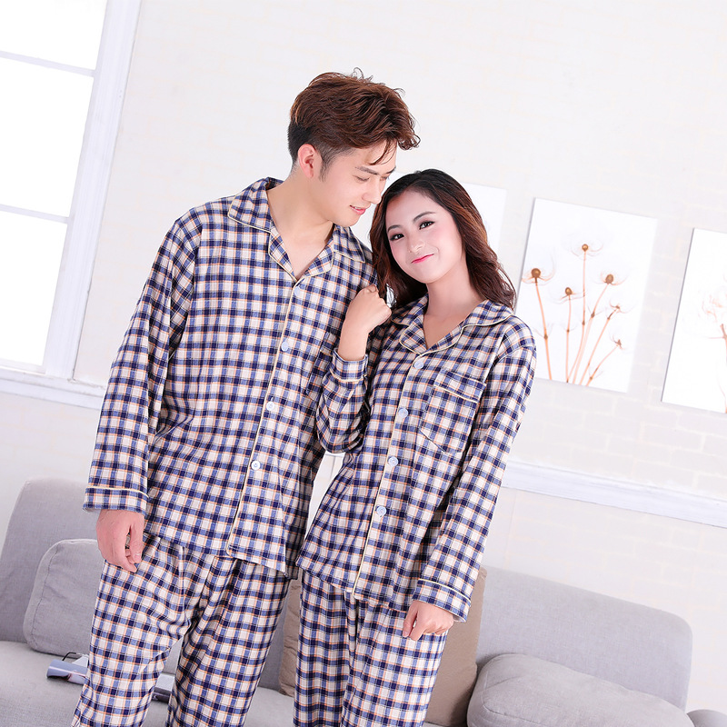 2018 pring Summer Thin Type Couples Pajamas Long Sleeves Trousers Suit Cotton Content 65% Home Clothes Nighty Nightgown Bedgown