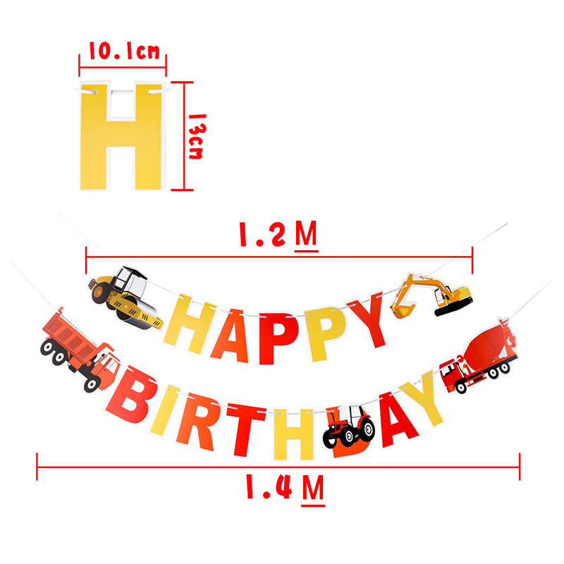 Construction Vehicle Birthday Decorating Banner Excavator Bulldozer Truck String Flags Bunting For Party Decoration in Banners Streamers Confetti from Home Garden