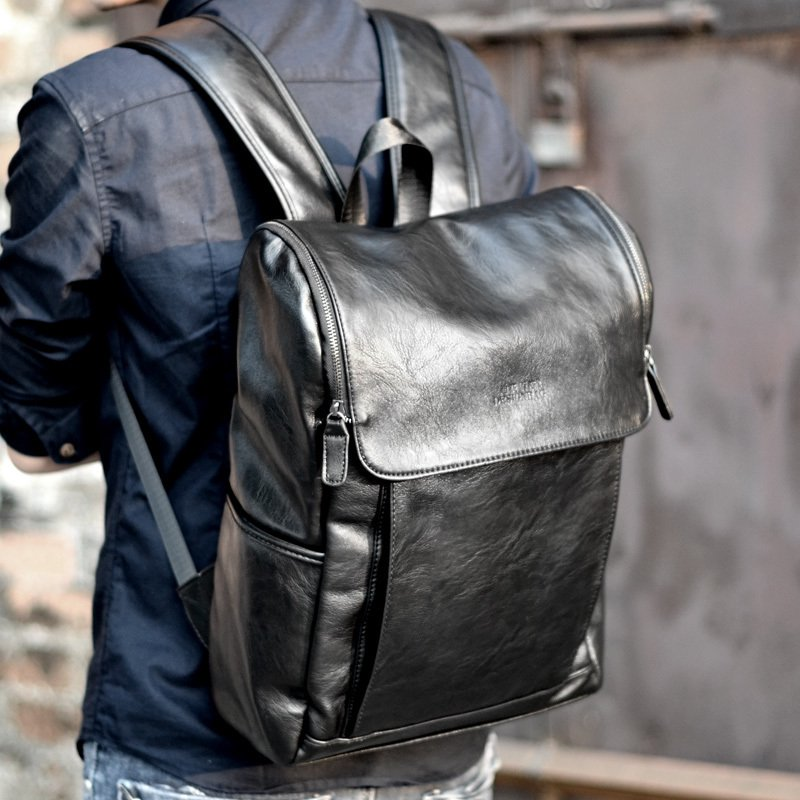 купить 2017 Soft Leather Men Backpack Brand Large Capacity Black Computer Bag High Quality Business Bag for Man Leisure Laptop Bolsa недорого