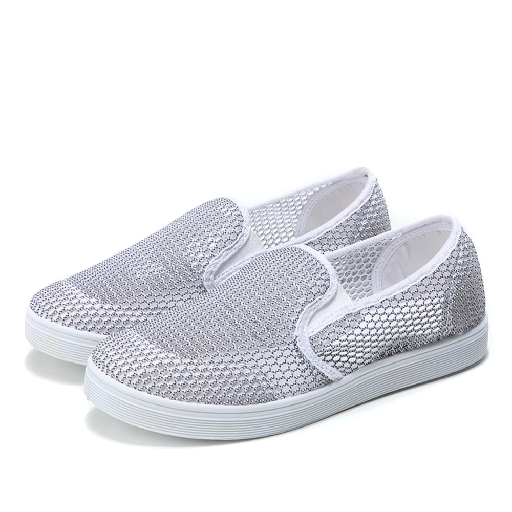 2018 Summer Fashion Hollow Breathable Network Women Casual Shoes Slip-on High Quality Flat Mesh Shoes Plus Size 35-40 breathable women hemp summer flat shoes eu 35 40 new arrival fashion outdoor style light