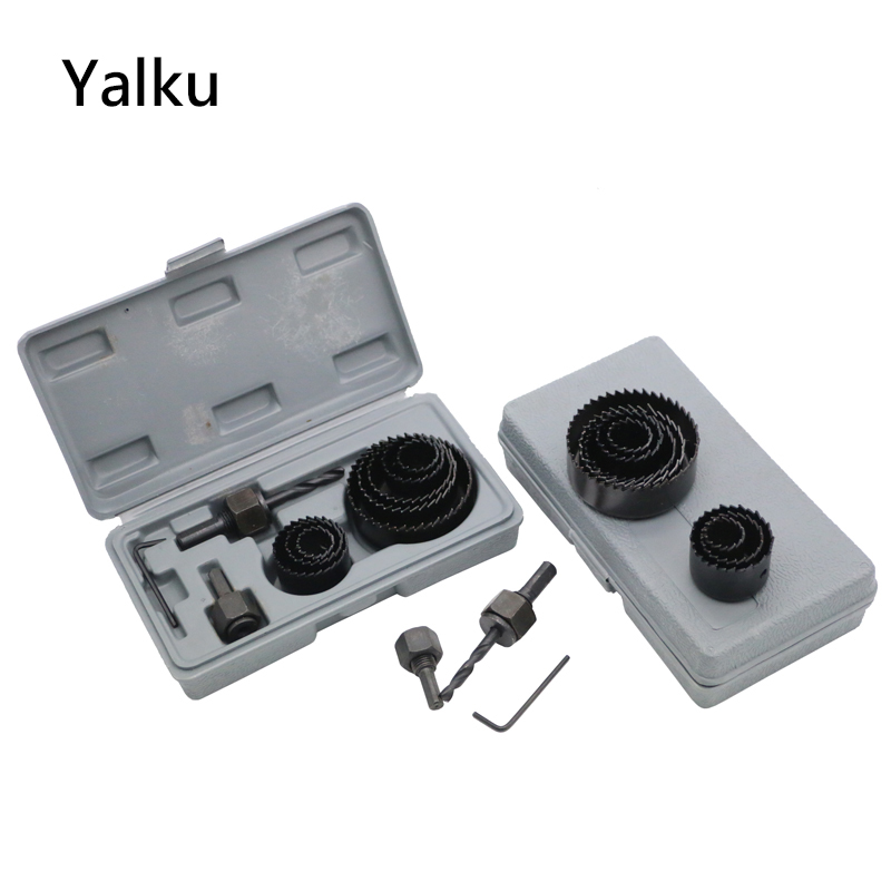 Yalku Core Drill Bits 11pcs Woodworking Hole Saw Drill Bit Kit Drilling Tool Wood Thin Alloy Metal Cutter Combination Tool Kit new 50mm wall hole saw drill bit set 200mm connecting rod with wrench mayitr for concrete cement stone
