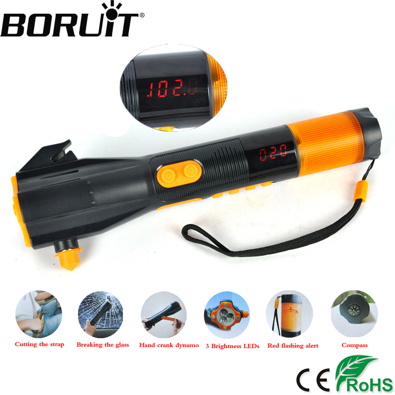 купить BORUiT 3 LED Multi-function Flashlight USB Hand Recharging Flash Light Power Bank Tactical Torch FM Radio Portable Lantern по цене 1946.77 рублей