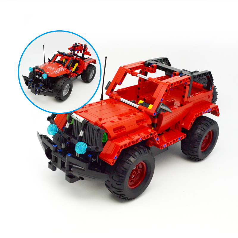 531pcs Technic Series MOC Building Blocks RC Car Red Jeep Wrangler 2 IN 1 Two Mode