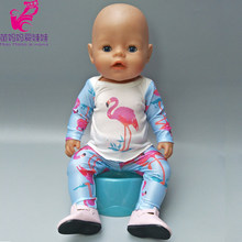 "For 43cm bebe doll clothes Flamingo full sleeve shirt pants for 18"" girl doll clothes pants doll rompers(China)"