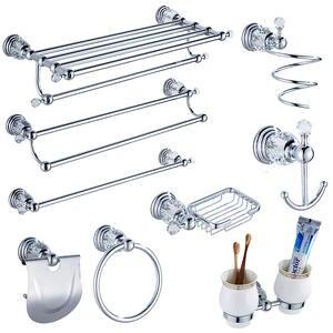 Jk6 Modern Clear Crystal Bathroom Accessories Sets Solid Brass Bathroom  Hardware