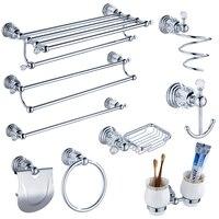 Conjuntos de acessórios do banheiro cristal claro moderno prata polido chrome banheiro produtos latão conjuntos de ferragem do banheiro jk6