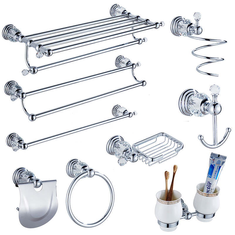 Modern Clear Crystal Bathroom Accessories Sets Silver