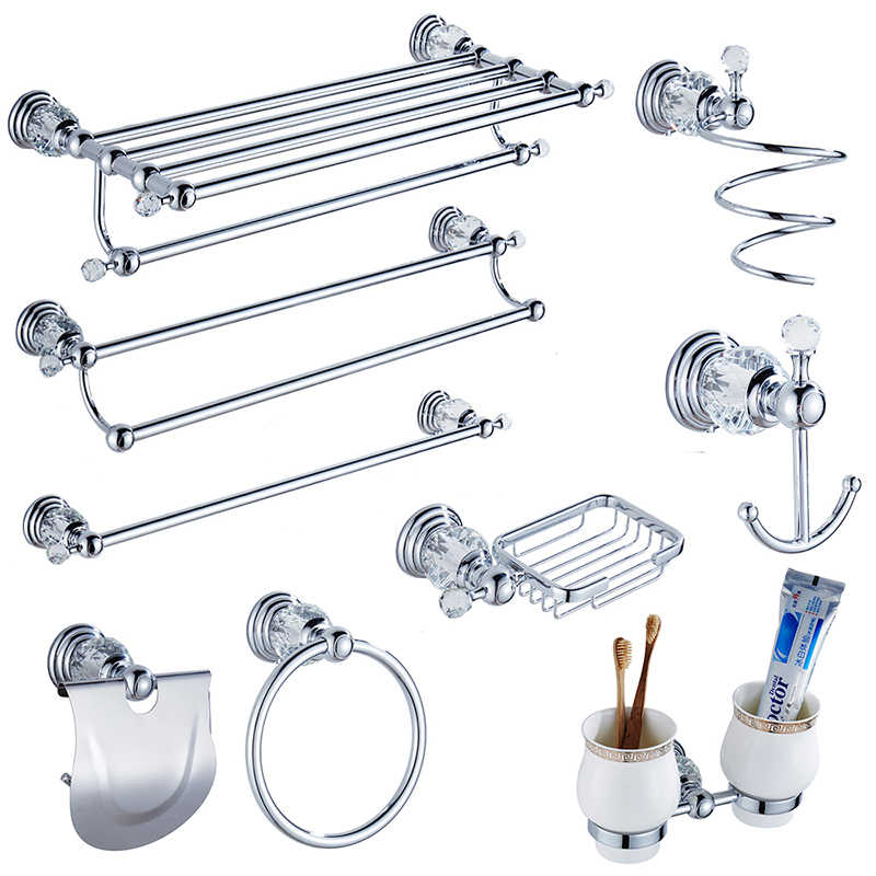 Modern Clear Crystal Bathroom Accessories Sets Silver Polished
