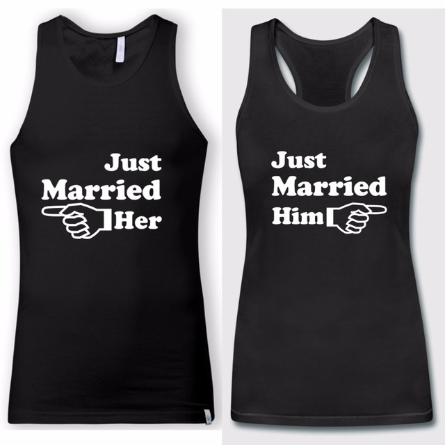 2018 Couple Matching Just Married Him Her Tank Tops Letter Printed