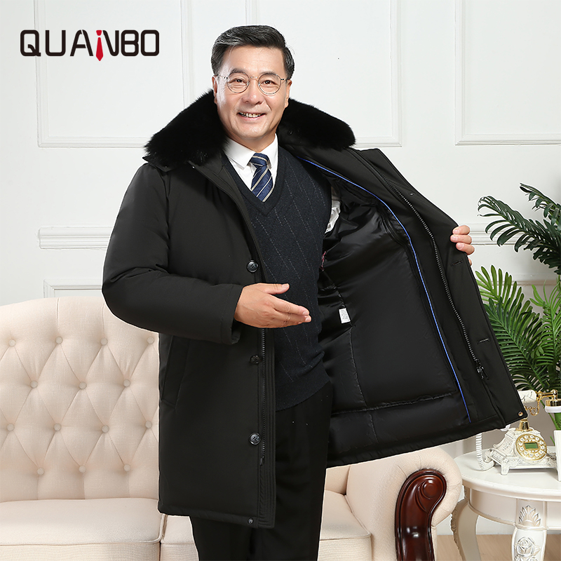Middle and old aged Mens Down Coat 2019 New Winter Warm Thicken Long Down Jacket Hooded Liner Detachable Dad loading Plus size