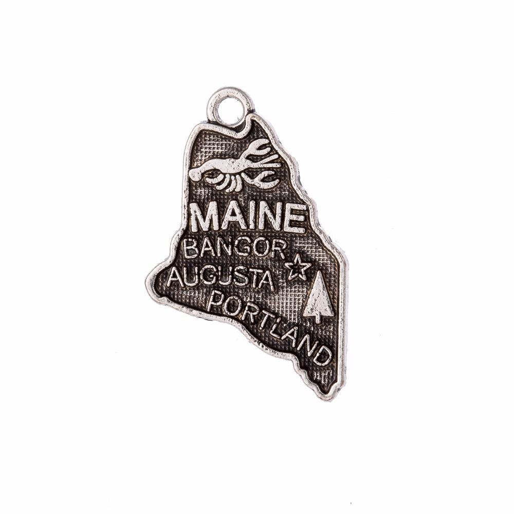 my shape 40Pcs Maine State Map Charm Antique Silver Plated Alloy Metal Pendant Diy Handmade Jewelry Making 15*24.5mm