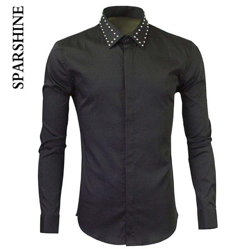 PUNK metal Polka Dot Mens Dress Shirts 2016 Brand Designer Casual Long Sleeve Cotton Slim Fit Men Shirt Black