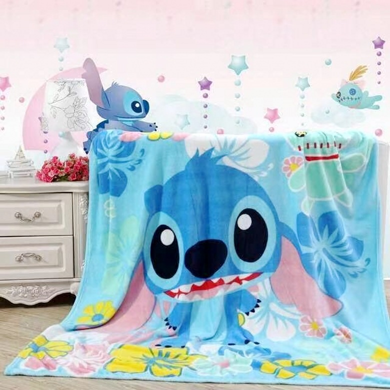 1pc soft cartoon stitch Doraemon coral fleece plush blanket bed sheet lady romantic gift baby dream bed girl toy