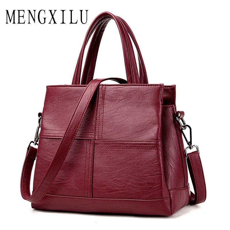 MENGXILU Fashion Leather Women Bags Handbags Women Famous Brands Luxury Designer Plaid Sholder Bag Ladies Casual Tote Sac A Main