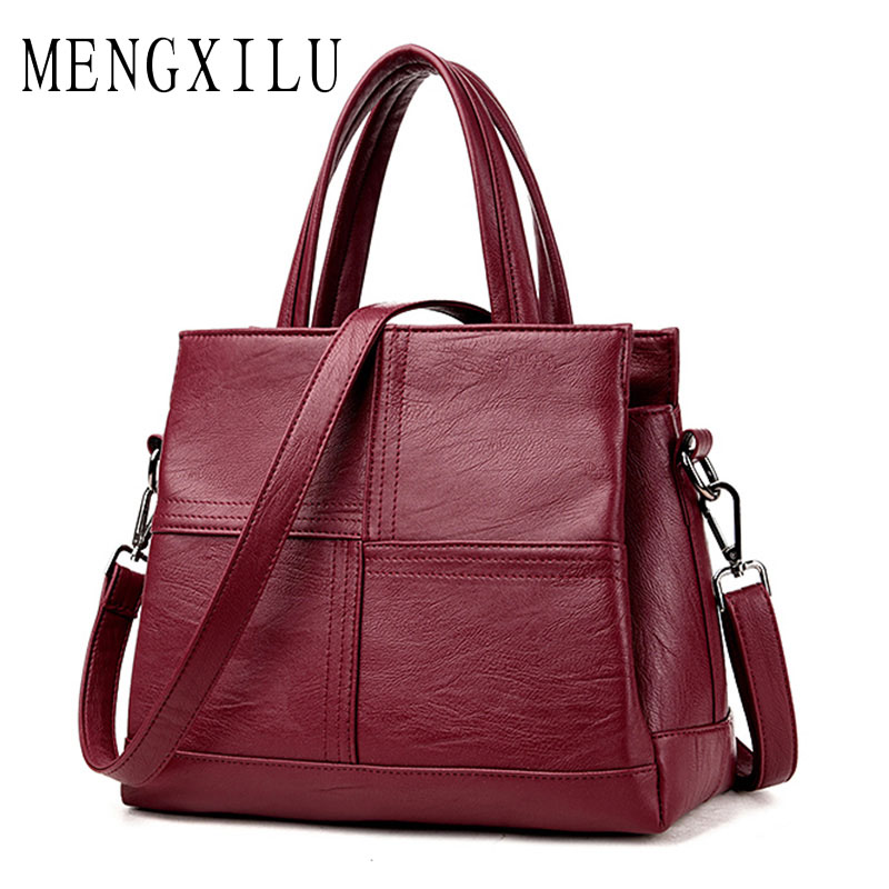MENGXILU Fashion Leather Women Bags Handbags Women Famous Brands Luxury Designer Plaid Sholder Bag Ladies Casual Tote Sac A Main luxury handbags women bags designer brand famous scrub ladies shoulder bag velvet bag female 2017 sac a main tote