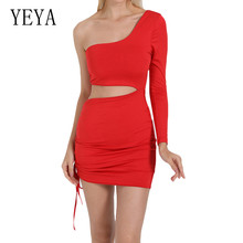 YEYA Summer Women's Sexy One Shoulder Long Sleeve White Black Dress Elegant Hollow Out Lace-up Pleated Dress Femme Robe Grande black one shoulder backless lace up details sweater dress