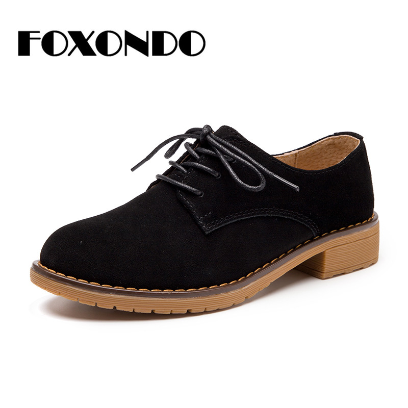 FOXONDO 2019 Autumn women oxford shoes for women flats shoes ladies   leather     suede   lace up boat shoes round toe flats moccasins