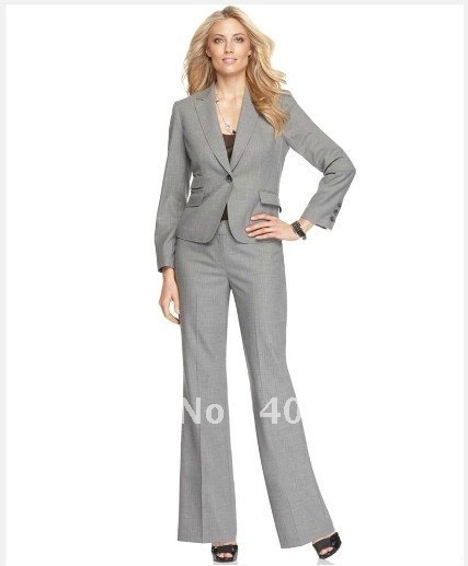 Suits  Light Gray With Narrow Stripes Women Suits  Brand Women Suit  Notch Collar Jacket with Pant   Custom Women Suit   676