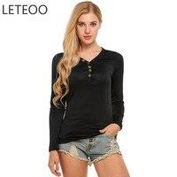 LETEOO Women Tops Plus Size T Shirt Autumn Basic Tee 2017 Casual Slim Long Sleeve Pink
