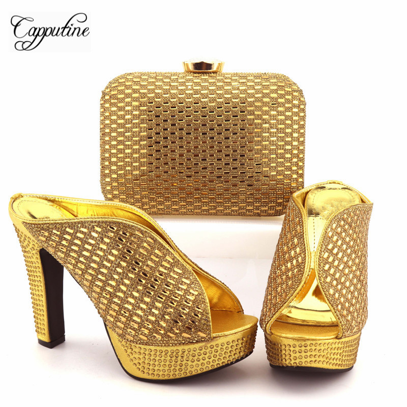 Capputine New Arrival Nigeria Style Shoes And Bag Set Summer Rhinestone Woman High Heels SHoes And Matching Bag For Parties