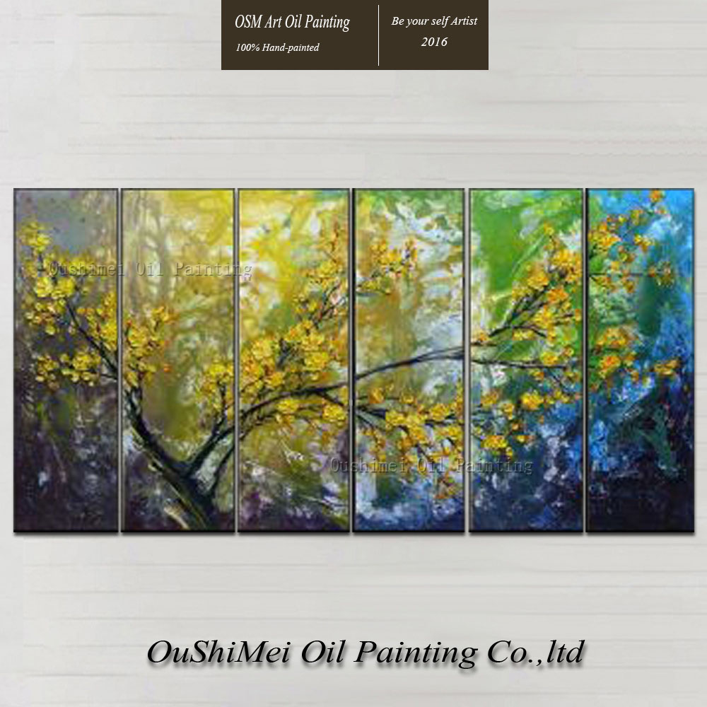 Online Shop Artist Handmade Yellow Cherry Blossoms Oil Painting On ...