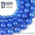 AAA contas de ágata Azul Natural Ágata Pedra Redonda contas Loose bola 6/8/10/12 MM abastecimento pulseira colar de Jóias artesanais fazer DIY