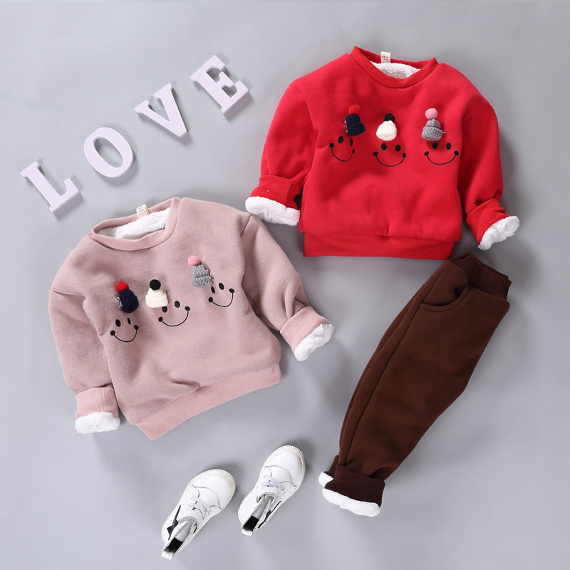 Children Sets Baby Girls& Boys Clothing Set Cute Suit Kids Winter Long Sleeved Thick Warm Coat+Pants kids clothes set he hello enjoy baby girl clothes sets autumn winter long sleeved cartoon thick warm jacket skirt pants 2pcs suit baby clothing