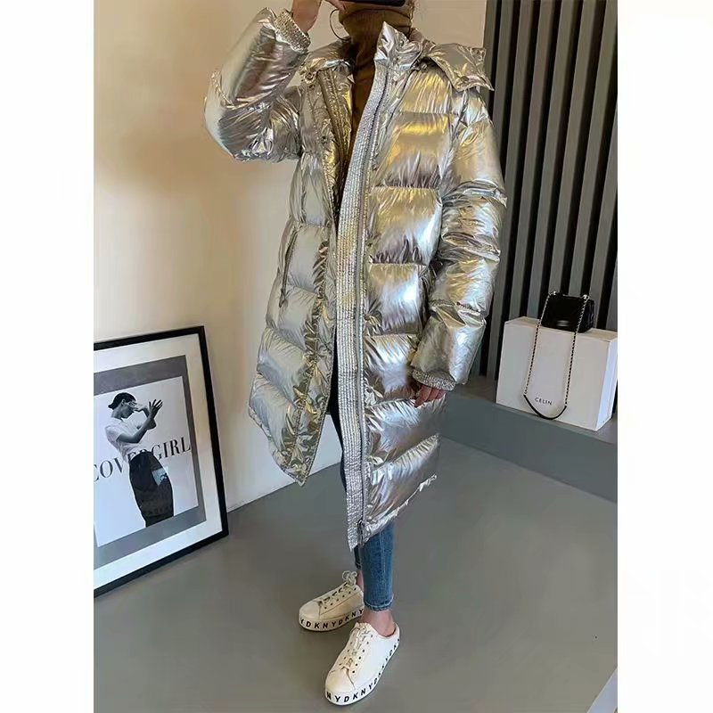 Silver Long Sleeve Down Padded Cotton Space Bright-faced Loose Hooded Jacket Silver Bright Casual American   Parkas   Outwear