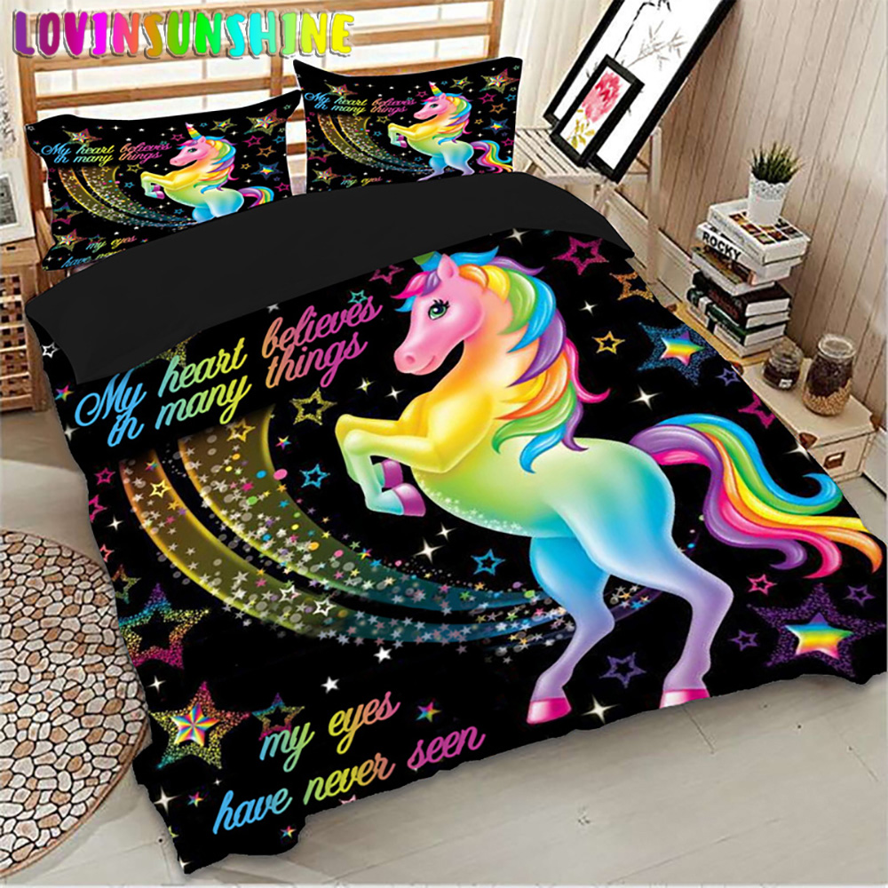 LOVINSUNSHINE Comforter Bed Sets Duvet King Size Cover Unicorn Print Cute Bedding Queen Size AB#100