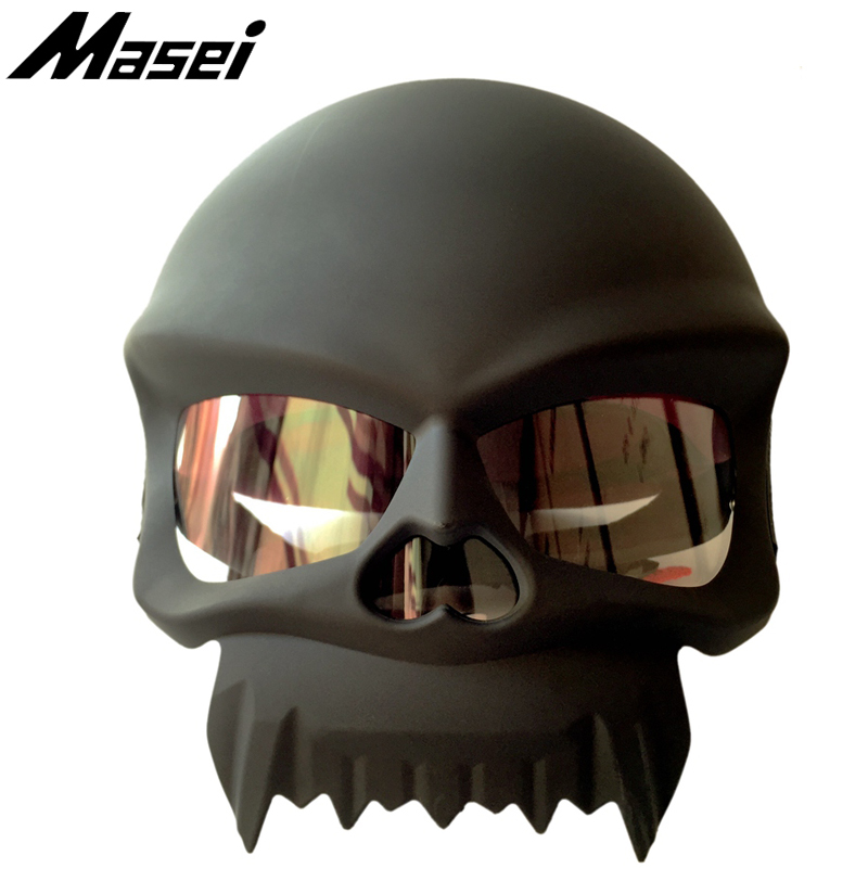 Masei 429 Skull Motorcycle Helmet Punk Stye Novelty Helmets Motorbike Capacetes Casco Retro Casque