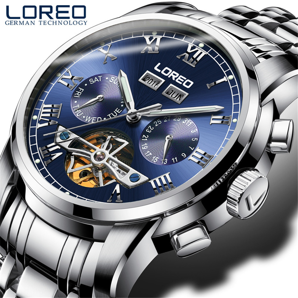LOREO Mens Watches Top Brand Luxury Sapphire Tourbillon Watch Men Mechanical Watches Waterproof 50m Fashion Men hours Relogio loreo mechanical watch men 50m diving luxury brand men watches tourbillon skeleton wrist sapphire automatic watch waterproof