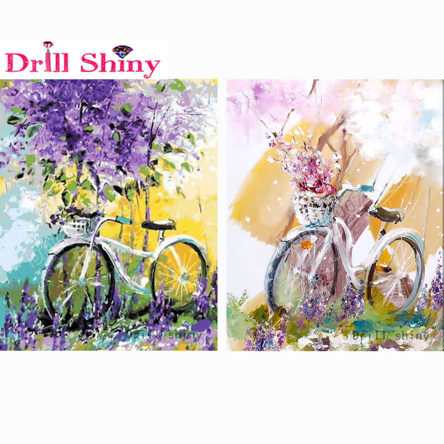 Diamond Painting Cross Stitch Arts,crafts & Sewing Industrious Full Square/round Drill 5d Diy Diamond Painting bicycle Flower Lavender Diamond Embroidery Mosaic Cross Stitch Home Decor Gift