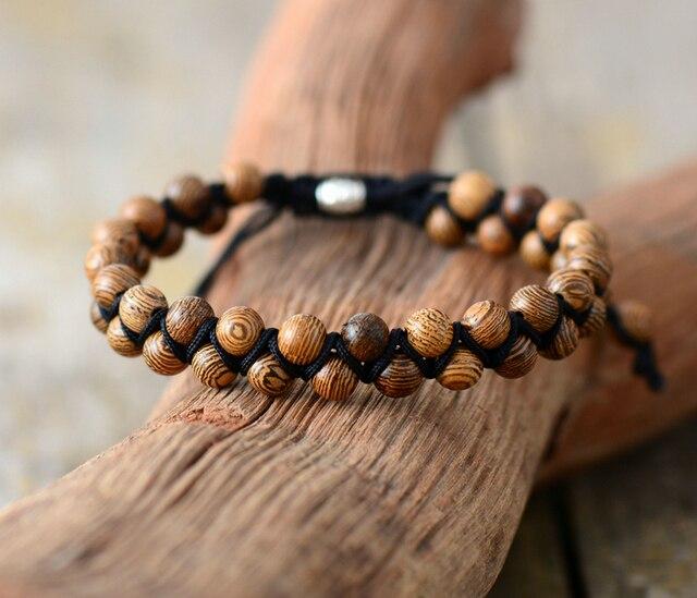 bf8c248667 Men Bracelets Vintage Wood Black Cord Braided Bracelet Handmade Mens Beads  Punk Friendship Bracelets Couples Gift