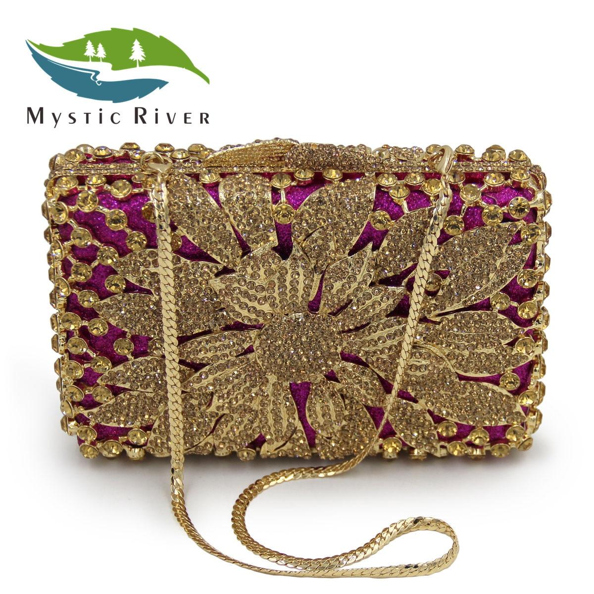 Mystic River Mujeres Embragues Bolsos Bolsos de Noche de Oro de Las Señoras Embr
