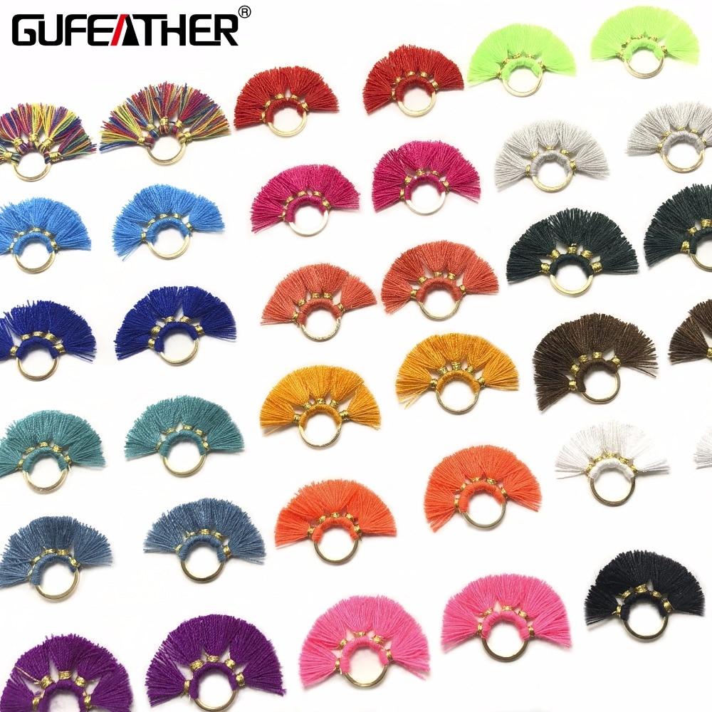 GUFEATHER L121/2CM Mini Tassel/jewelry Accessories/earring Accessories/metal Ring Tassel/earring Making/diy Handmade/2pcs