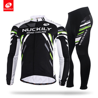 NUCKILY Winter Cycling Jersey Men's Fleece Long Sleeves Bicycle Wear Sport Top And Bottom Suit ME012MF012