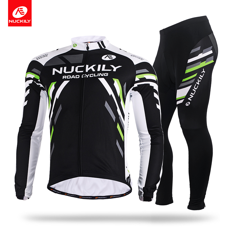 NUCKILY Winter Cycling Jersey Men's Fleece Long Sleeves Bicycle Wear Sport Top And Bottom Suit  ME012MF012 nuckily ny0917 cycling bicycle quick dry long sleeves thermal warm top black size m