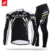 Nuckily winter Mens stripe fleece long cycling jersey sets  ME012MF012