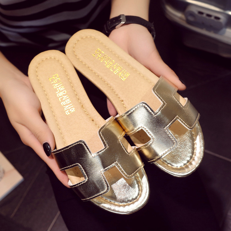 Summer Leather Slippers Women Fashion Flat Heel Home Bedroom Luxury Shoes  Beach Slides Black White Silver Gold Shoes-in Slippers from Shoes on ... 49dc133d2bff