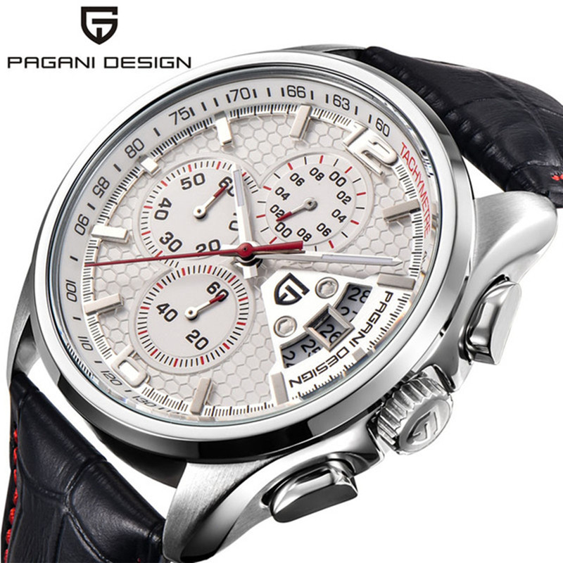 PAGANI DESIGN Quartz Chronograph Watch Mens Watches Top Brand Luxury Leather Strap Sport