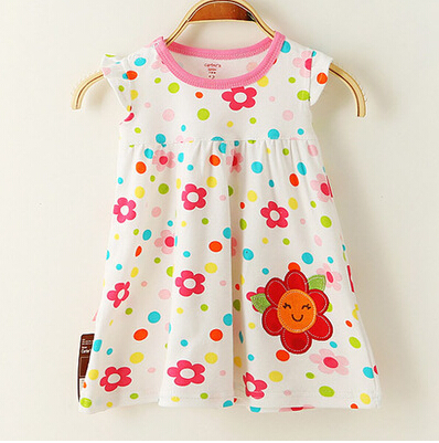100% Cotton Summer Retail Baby Girls Dress Infant Clothing Short Sleeve Printed Embroidery Baby Girl Dress Summer Clothes baby girl casual dress summer pure cotton 100