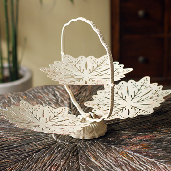 Creative decorations Home Furnishing dried fruit plate iron metal disc retro decorative plate combination snow basket