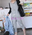 O Envio gratuito de 2017 Nova Moda Casual Calças Nona Romper Macacões Macacão de Algodão Para As Mulheres Plus Size Preto XXXL Personalizável