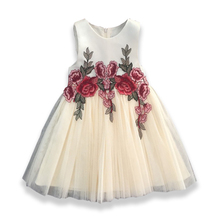 2018 Lace Embroidery Flower Dresses Liques Kids Prom Wedding Dress Birthday Party Princess For