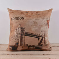 Linkwell cassa del cuscino di tela cuscino 45x45 cm retro map uk london tower bridge regno unito con il rosso timbro viaggio viaggio